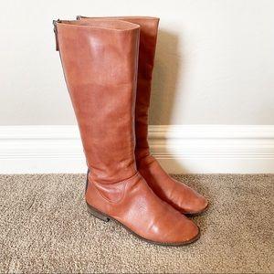 Splendid Brown Mid-Calf Leather Riding Boots w/ Zipper